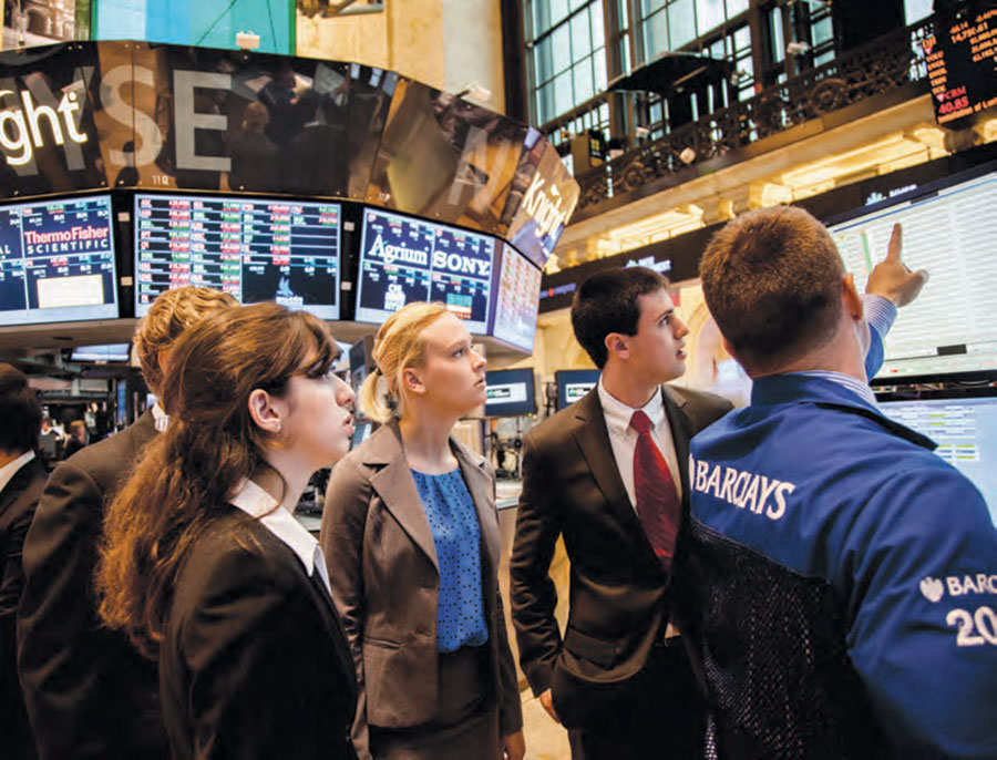 Students on the floor of the New York Stock Exchange
