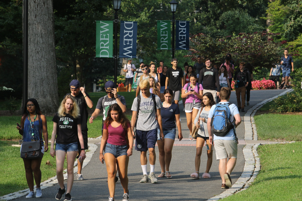 Students walking on a campus path