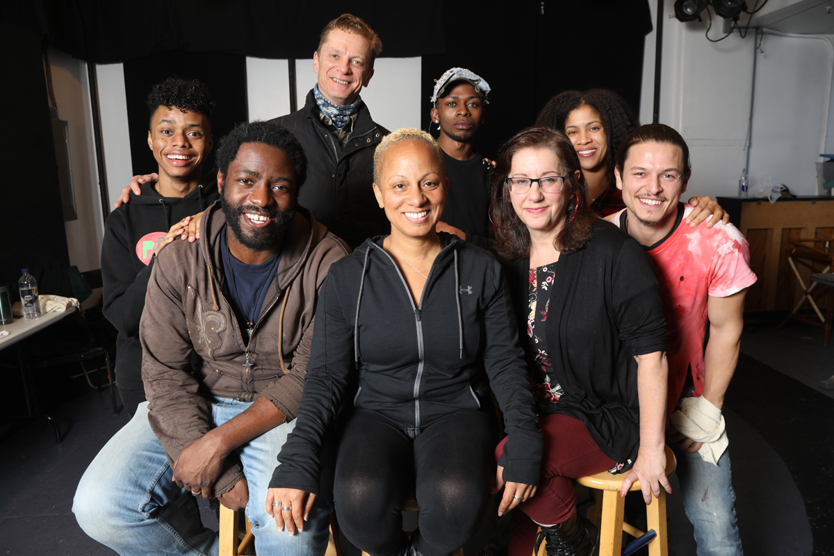 Professors Chuk Obasi and Kimani Fowlin grouped with the cast of Red Sky