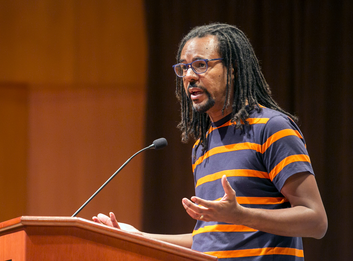 Colson Whitehead on stage at The Concert Hall