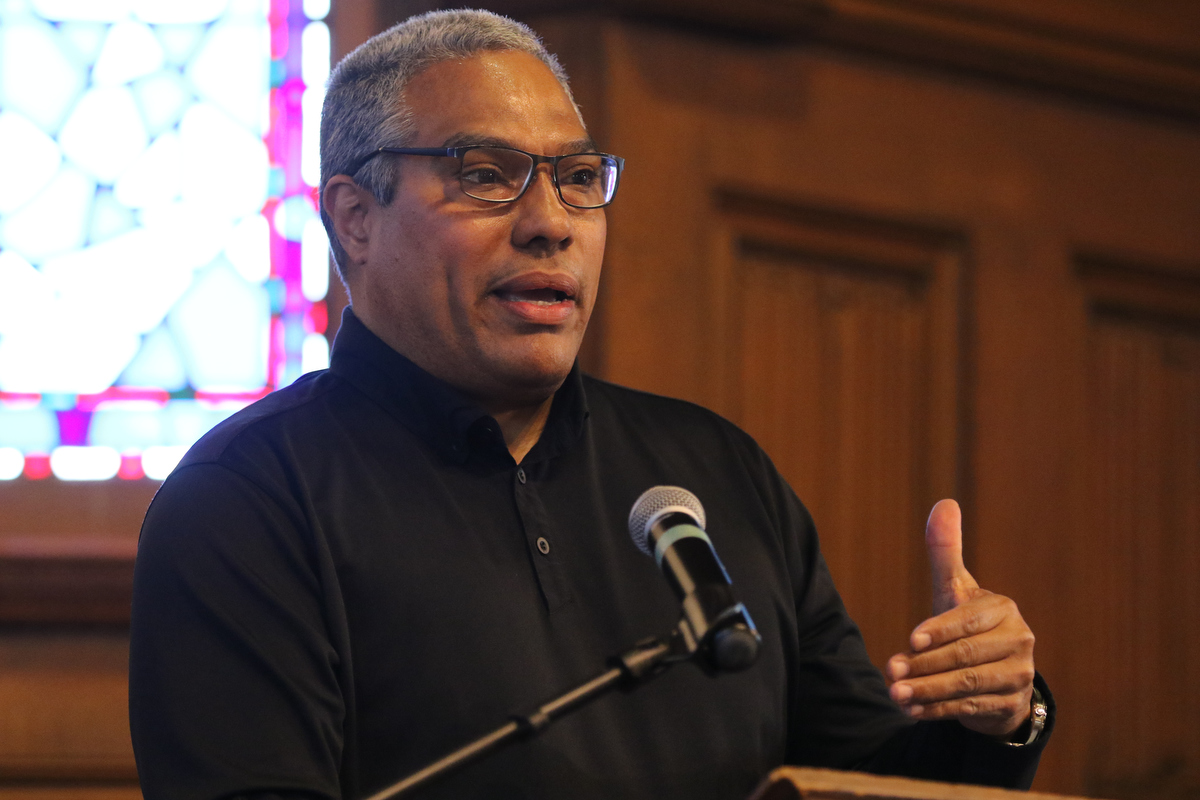 Eduardo Bonilla-Silva speaking in Craig Chapel