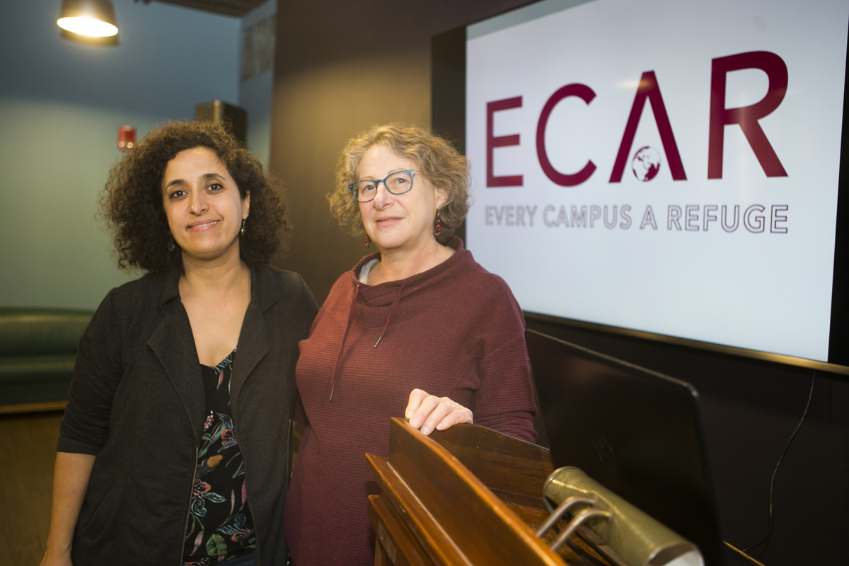 Diya Abdo standing next to Professor Sandra Jamieson
