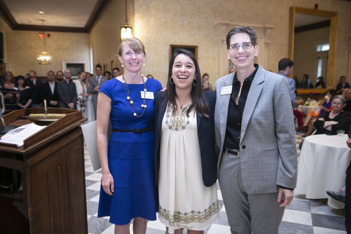 Professor Kristen Turner, graduate student Rachel Fintz and Dean Debra Liebowitz standing in a row